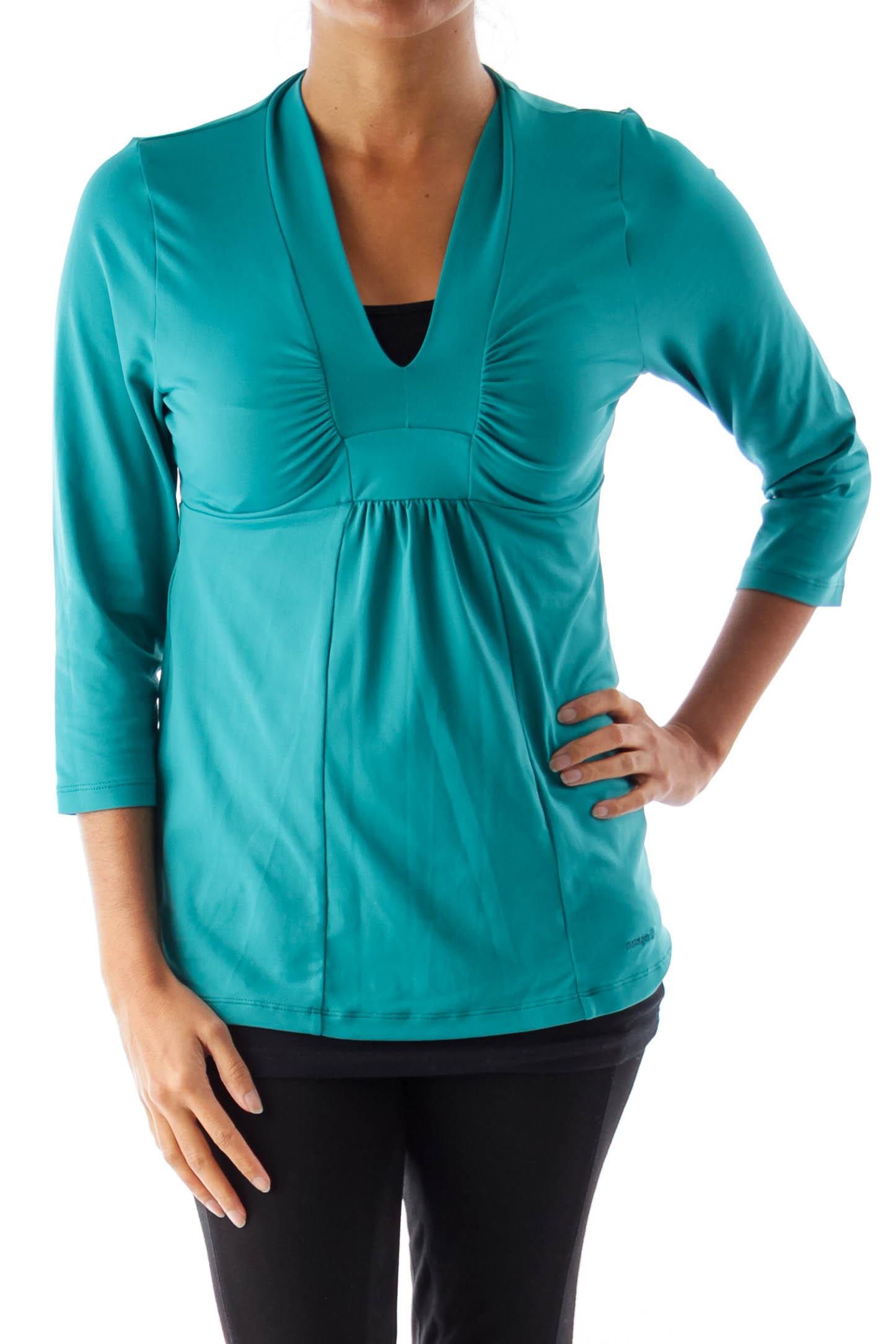 Green V Neck Sport Shirt