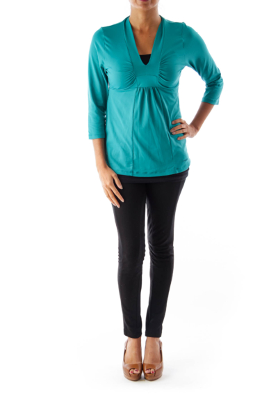Green V Neck Sport Shirt