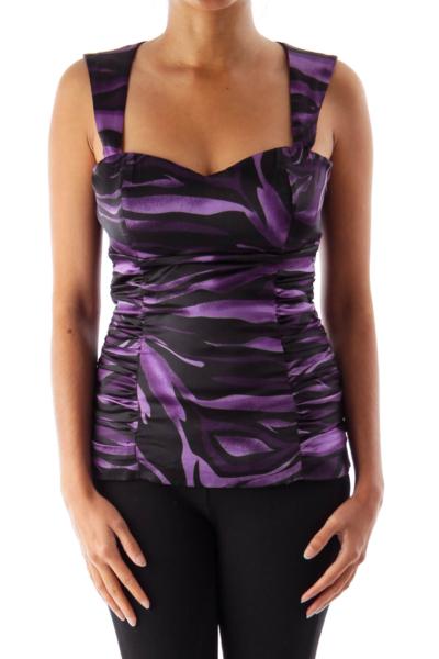 Purple & Black Open Back Top