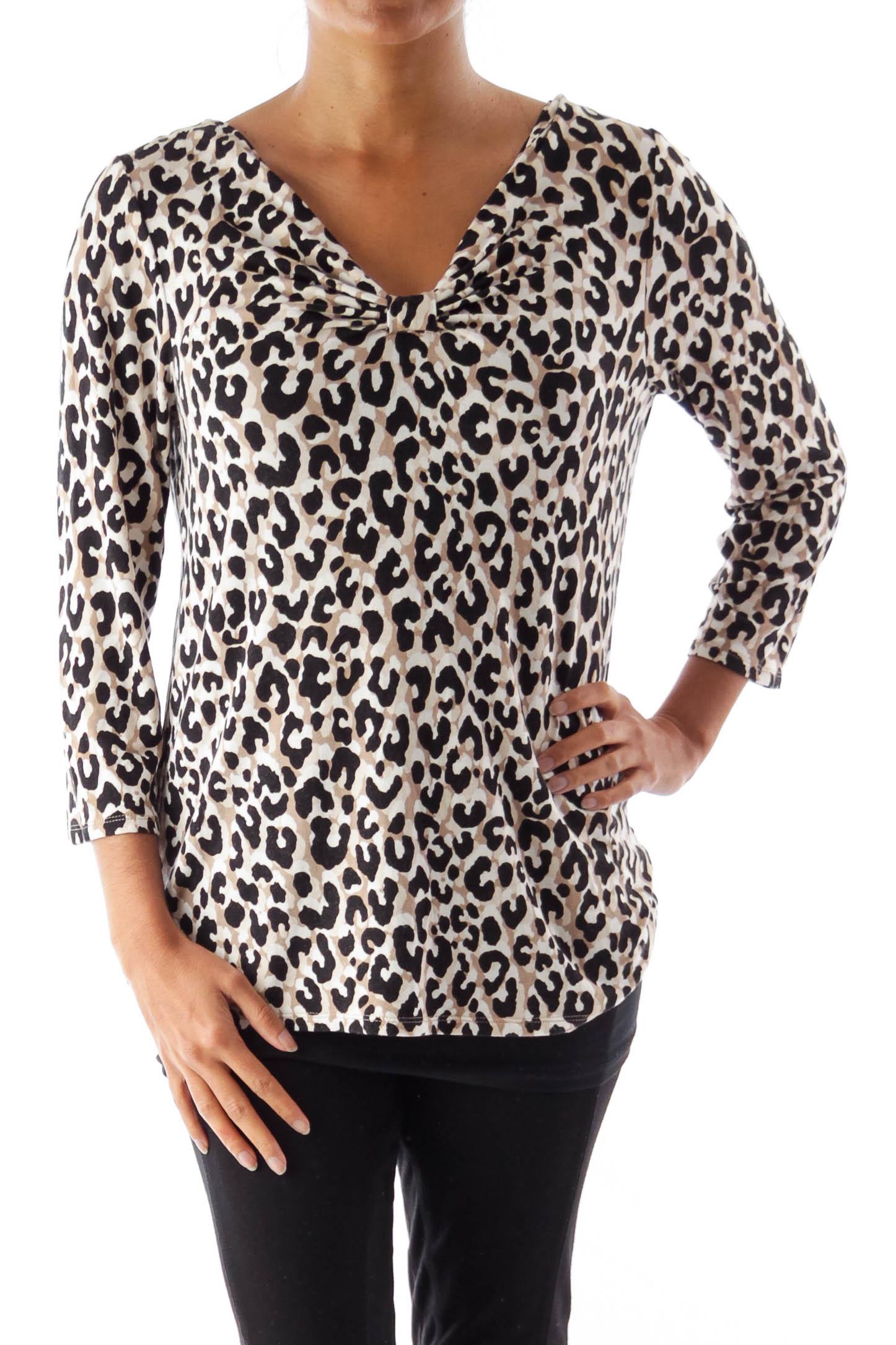 Animal Print  Drape Neck Shirt