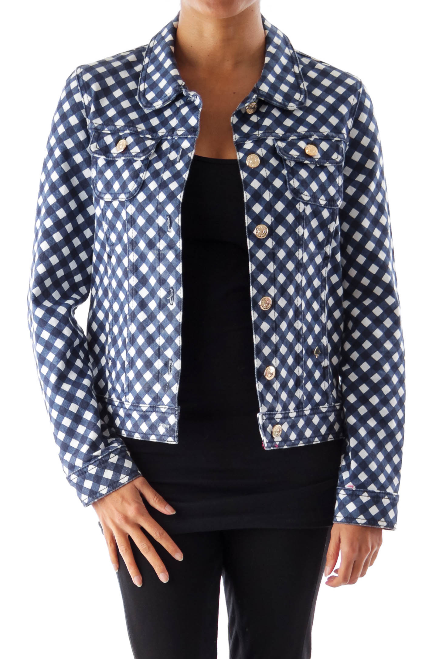Blue & White Plaid Denim Jacket