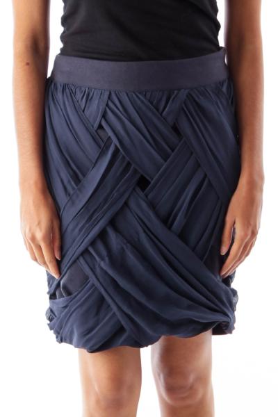 Navy Silk Detail Mini Skirt