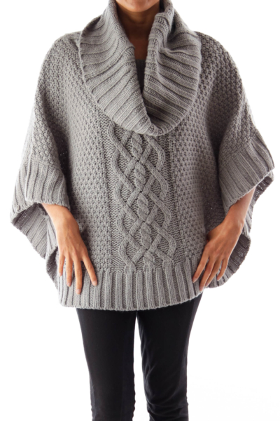 Gray Turtleneck Knit Cape
