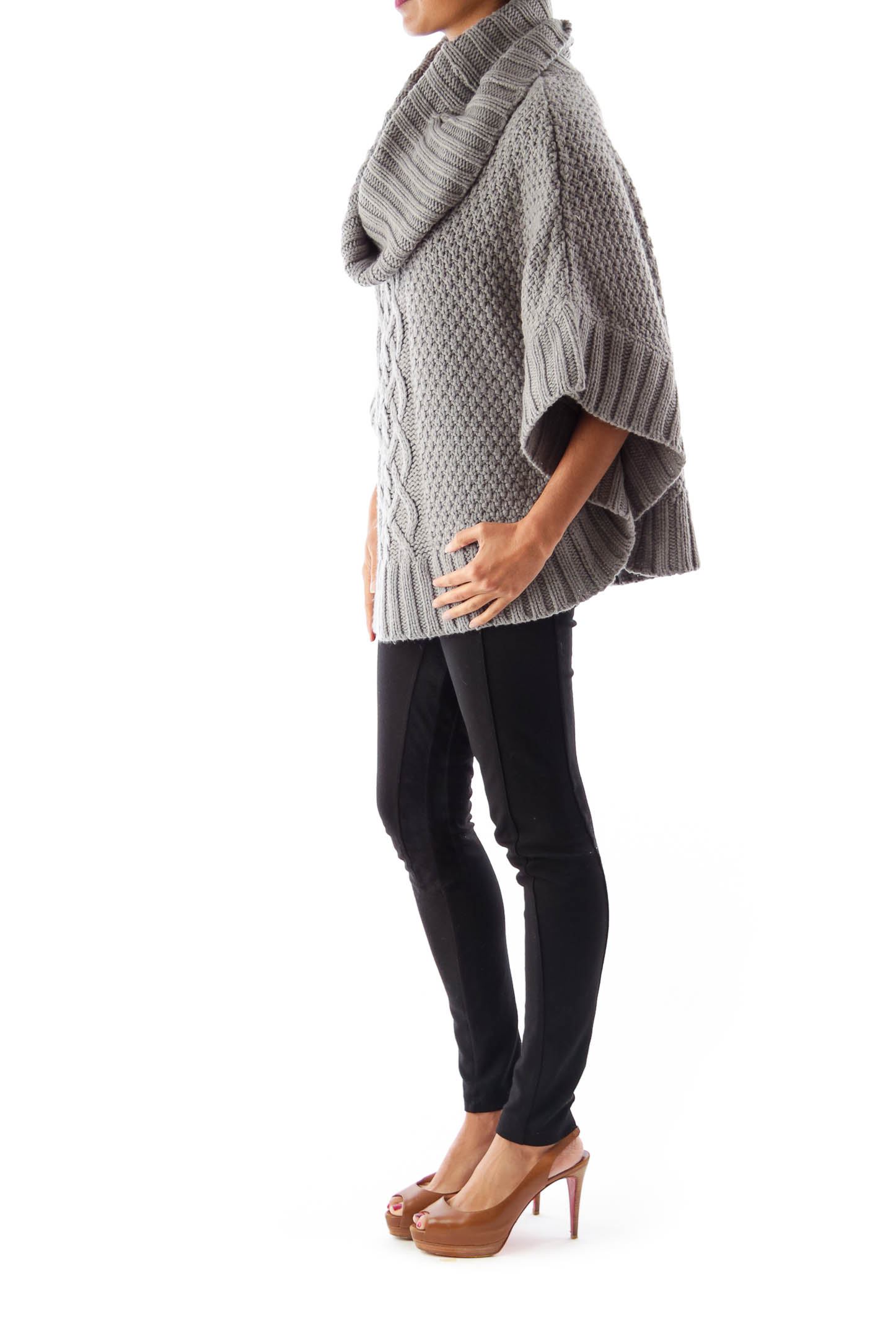 Gray Turtleneck Knit Cape