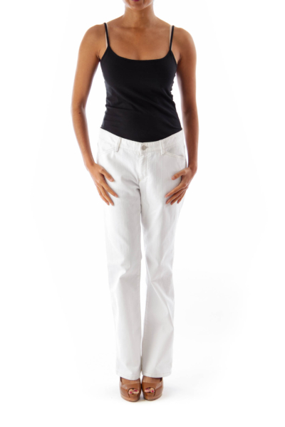 White Destroyed Details Pants