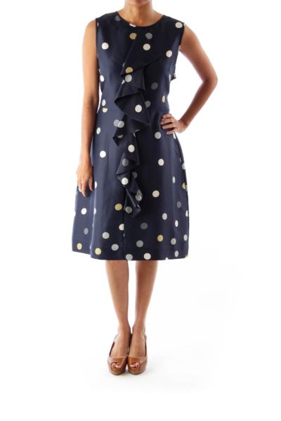 Navy Polka Dot Ruffle Dress