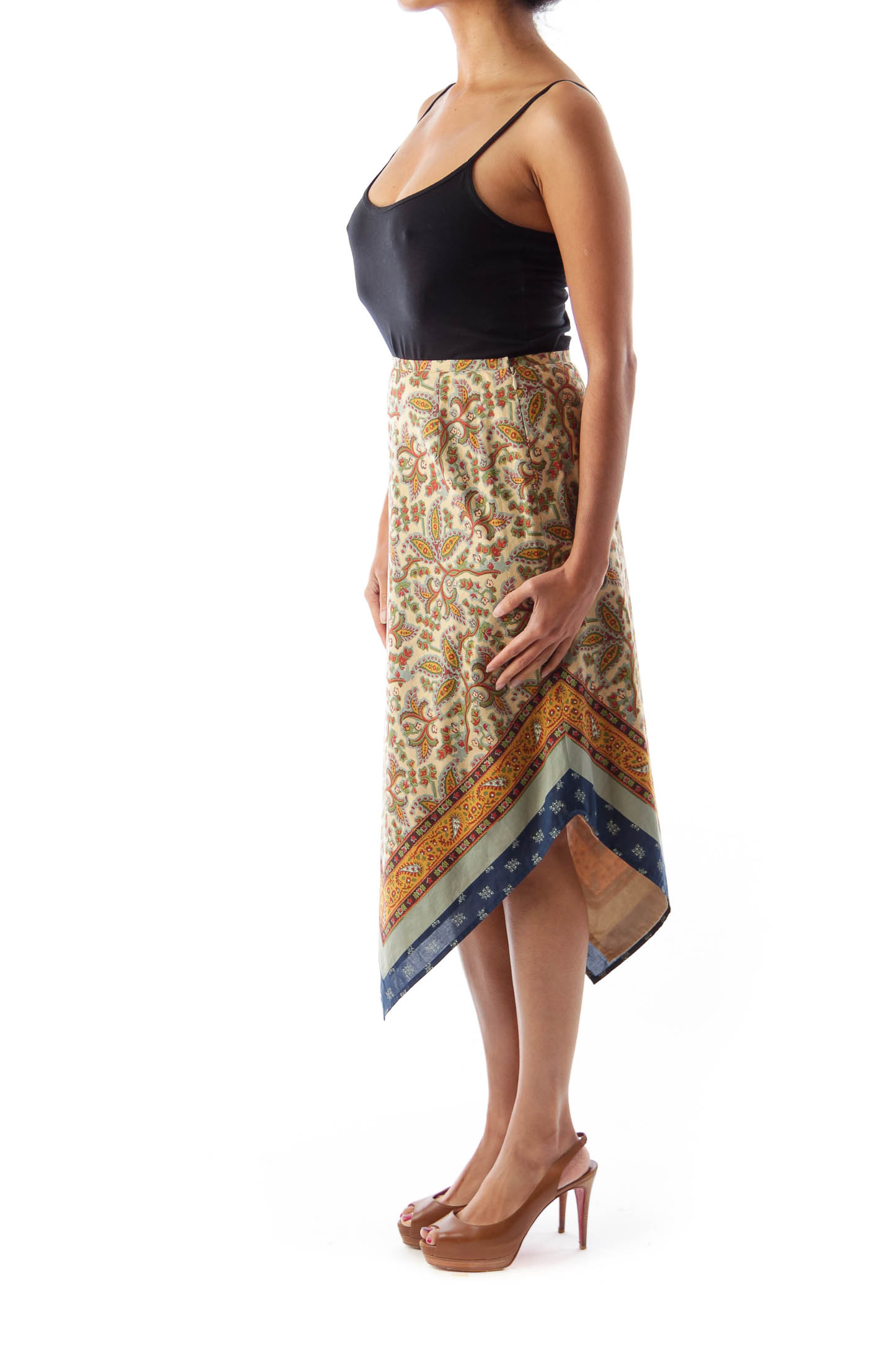 Print Asymmetric Skirt