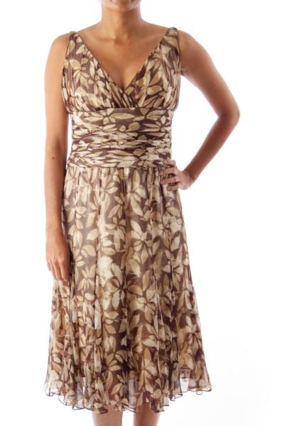Brown & Beige Print Midi Dress