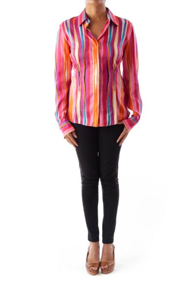 Color Stripe Print Blouse