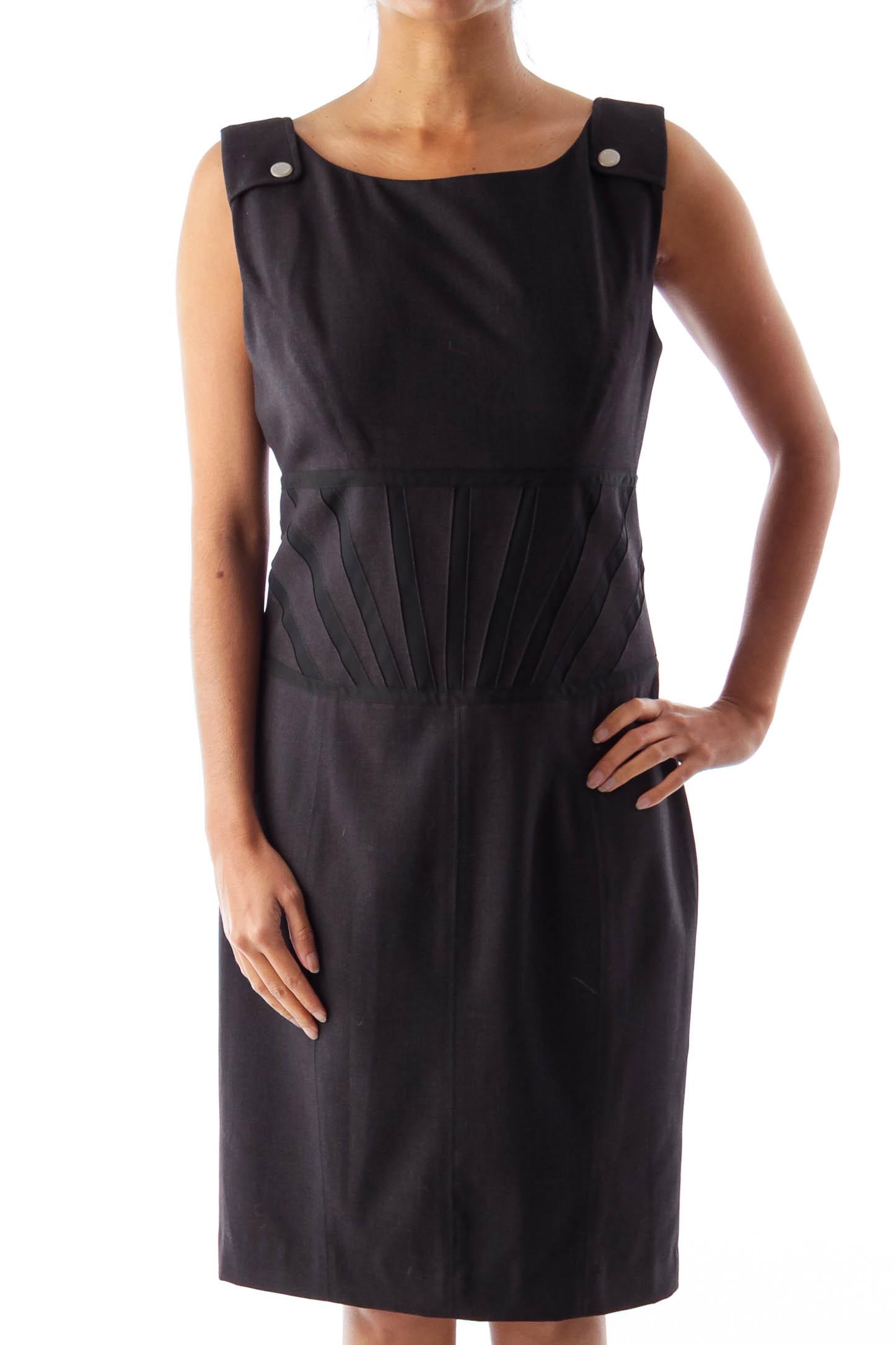 Dark Gray Detail Waist Dress