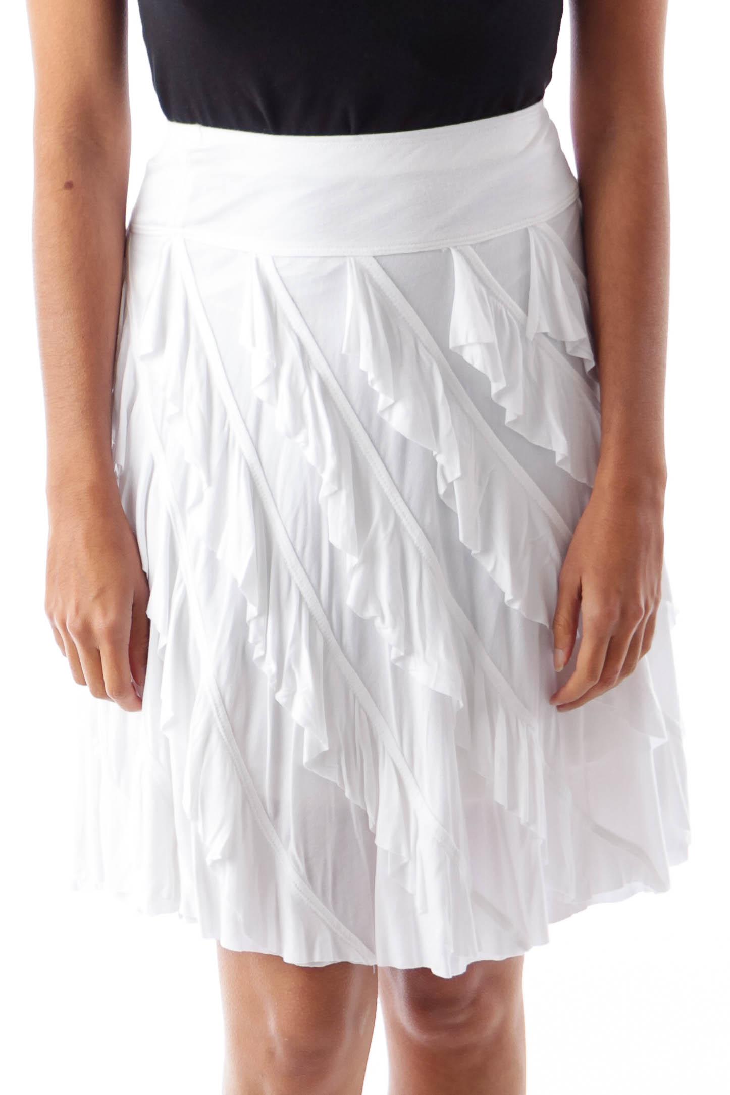 White Ruffle Mini Skirt