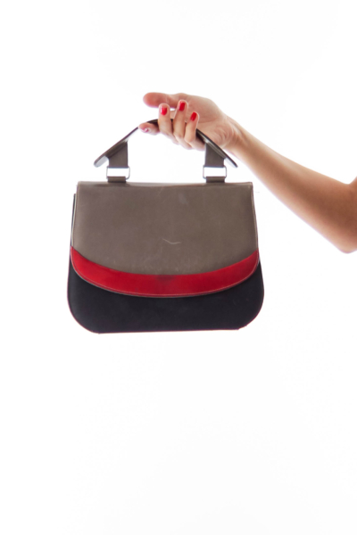 Black, Taupe & Red Vintage Tote*