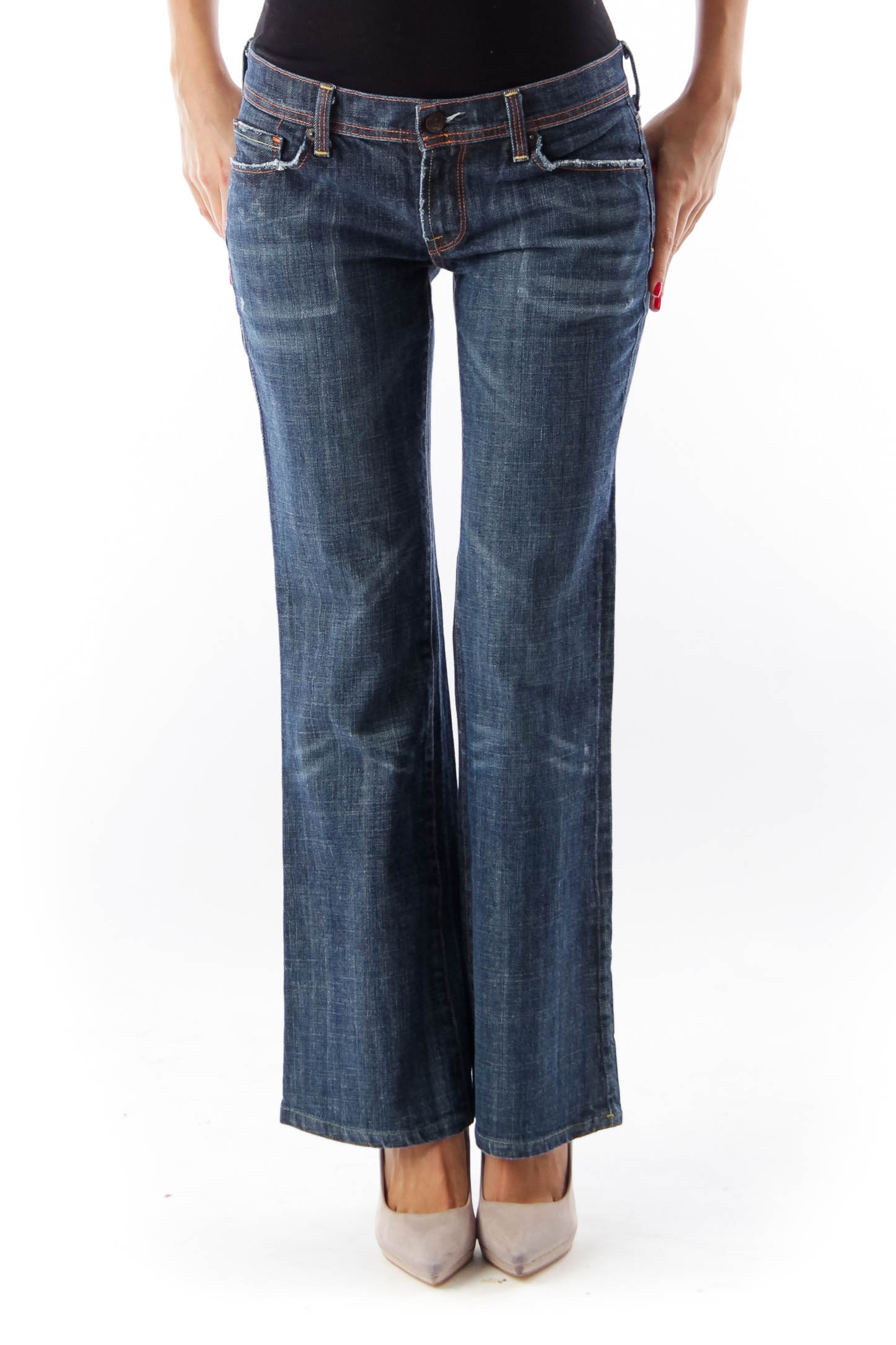Blue Medium Wash Wide Denim