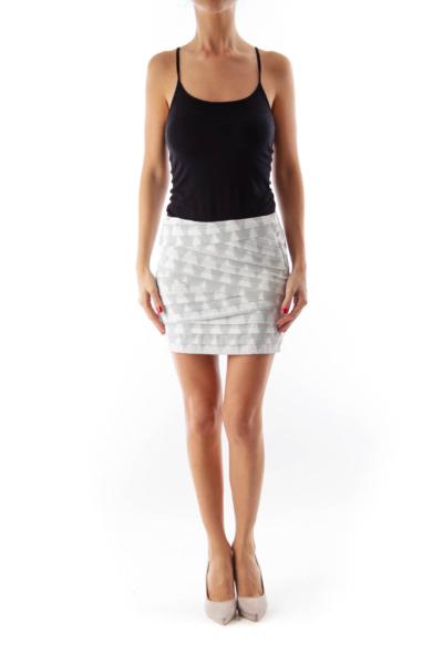 Gray & White Print Mini Skirt