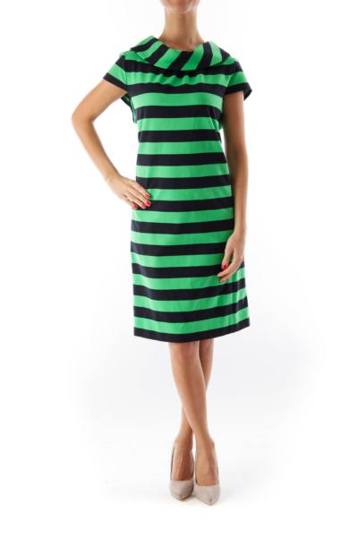 Black & Green Stripe Shift Dress