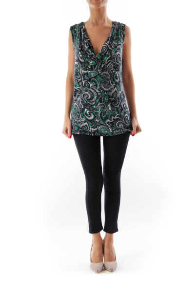 Color Print Paisley Top