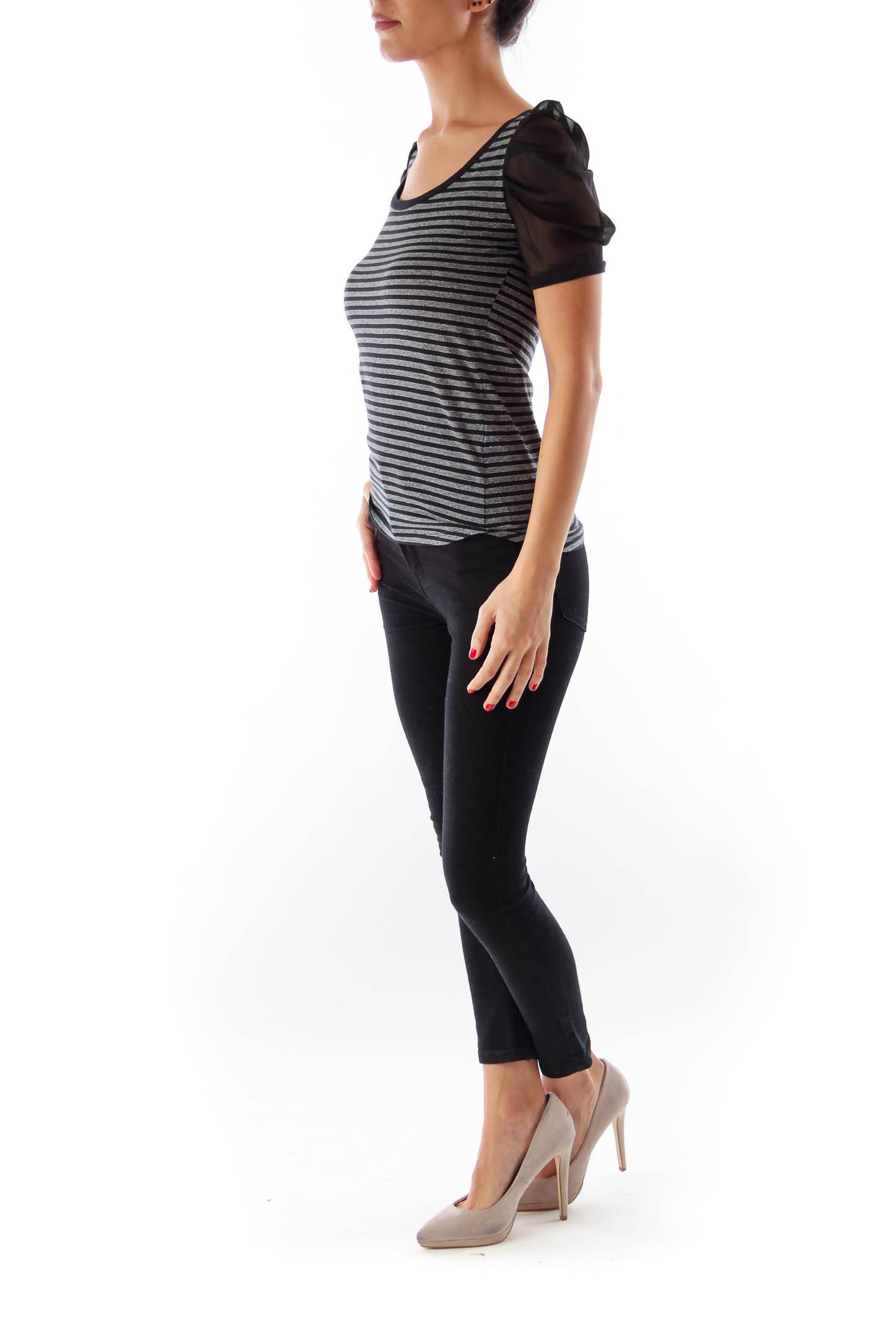 Black & Metallic Stripe Top