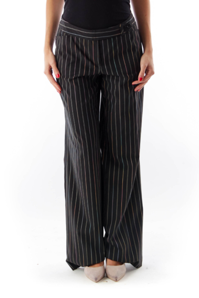 Black Pinstripe Wide Pants