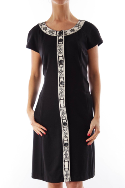 Black & White Detail Trim Dress