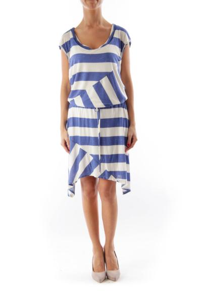 Blue & White Stripe Mini Dress