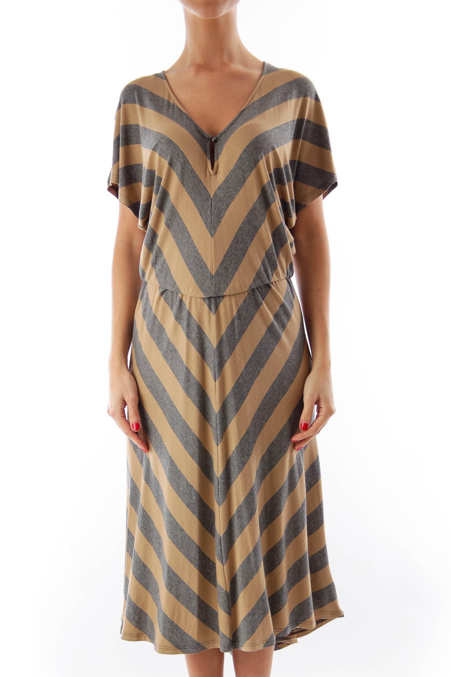 Beige & Gray Stripe Dress