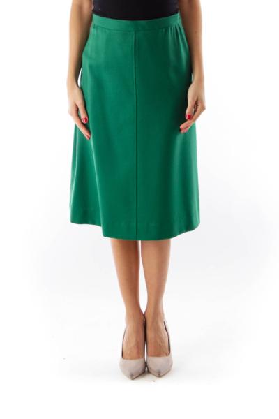 Green Pinstripe Midi Skirt