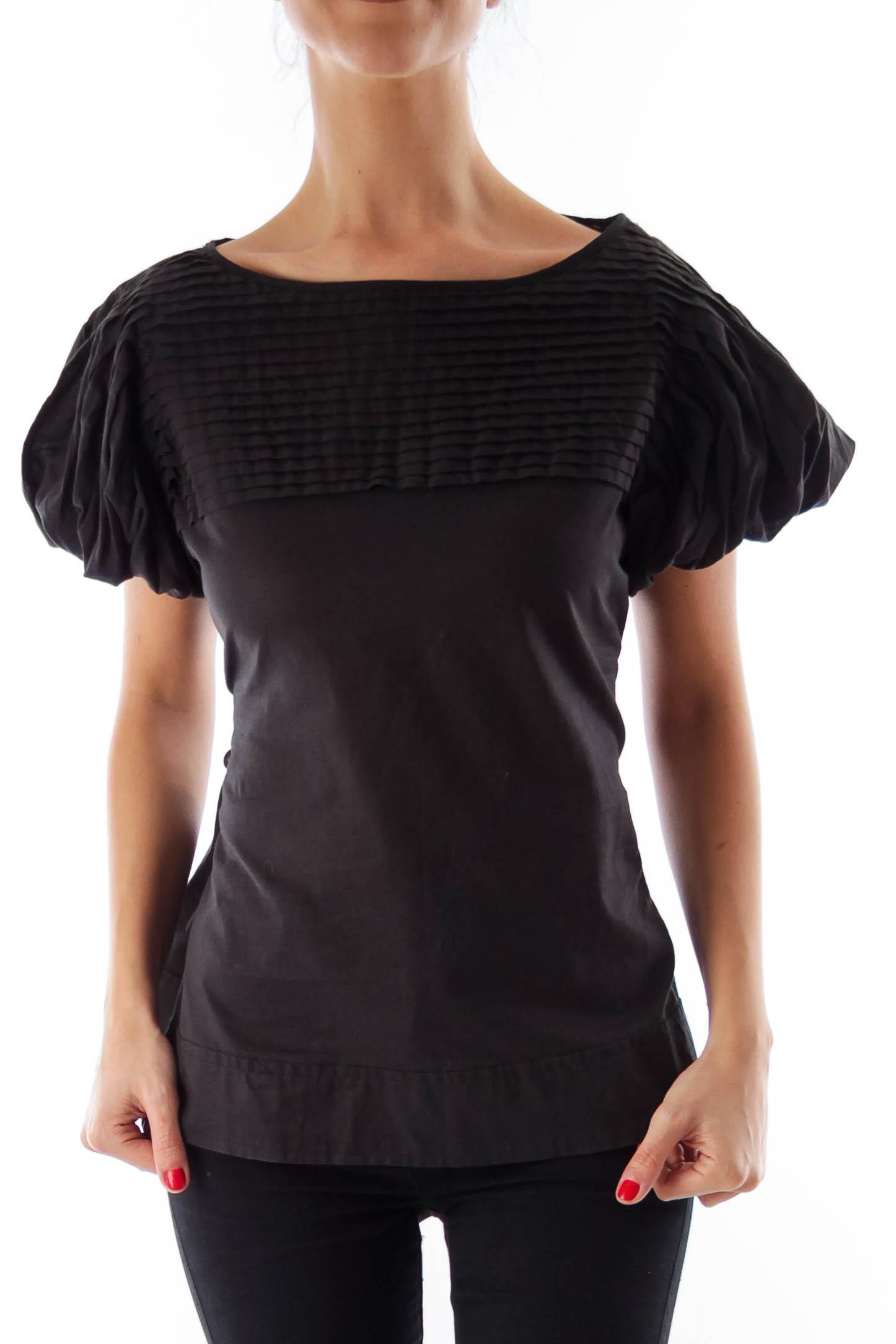 Black Puff Sleeve Shirt