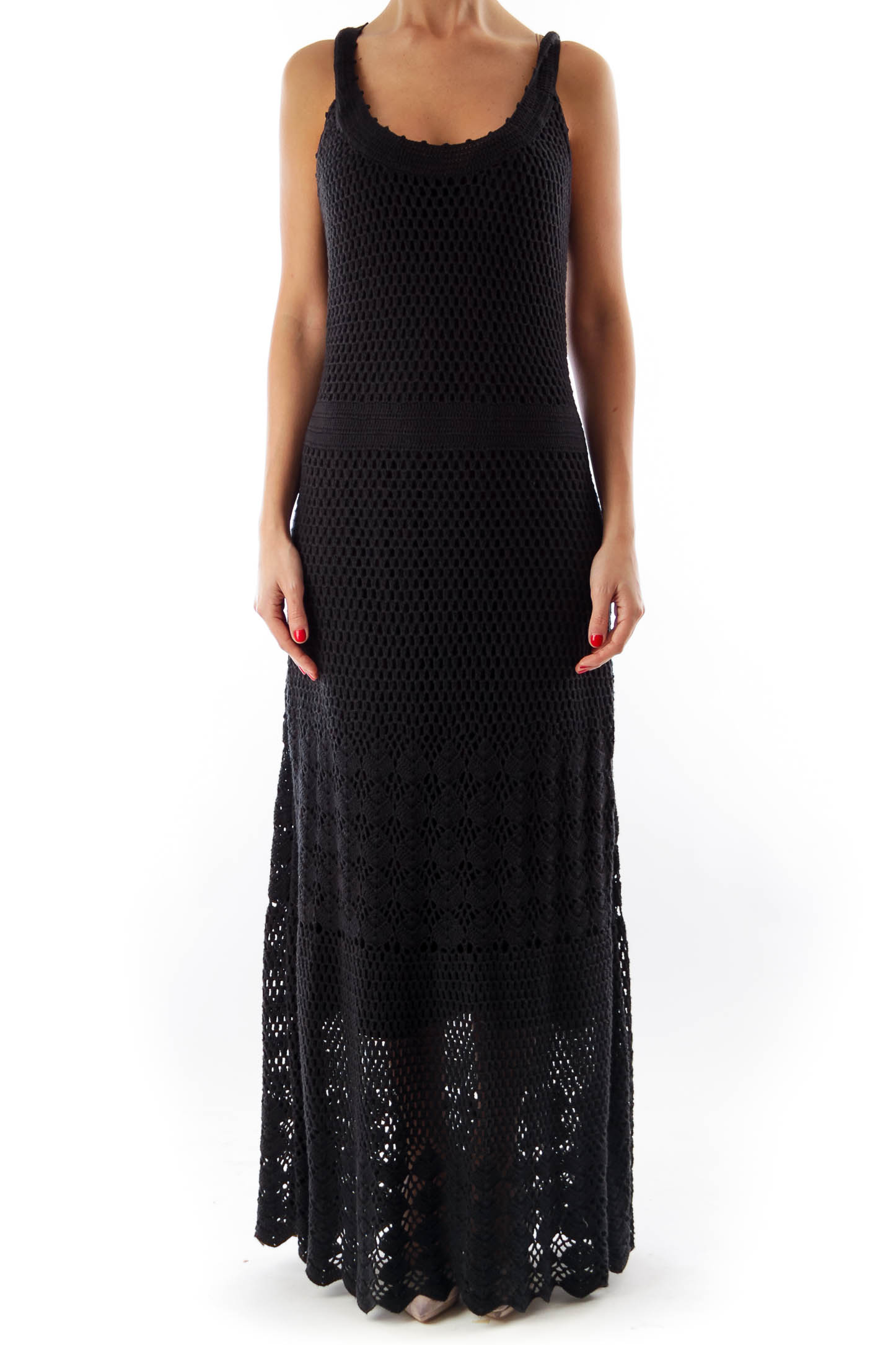 Black Crochet Long Dress
