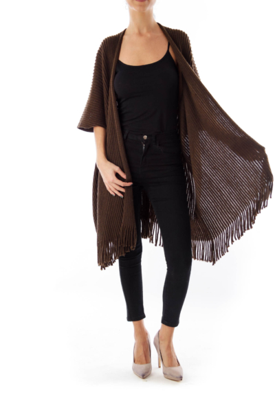 Brown Fringe Short Sleeve Cardigan