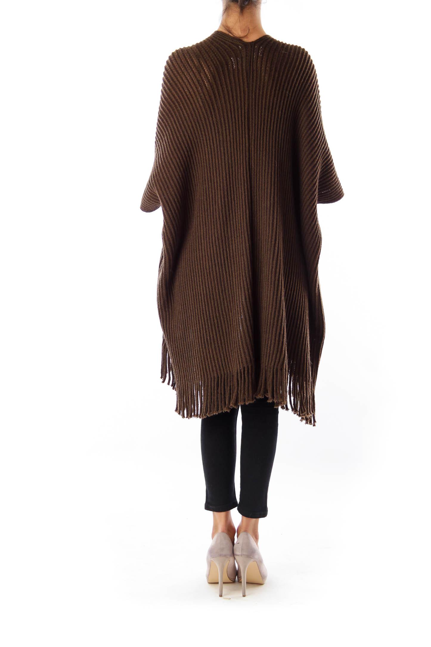 Brown Fringe Short Sleeve Cardigan [None] - SilkRoll