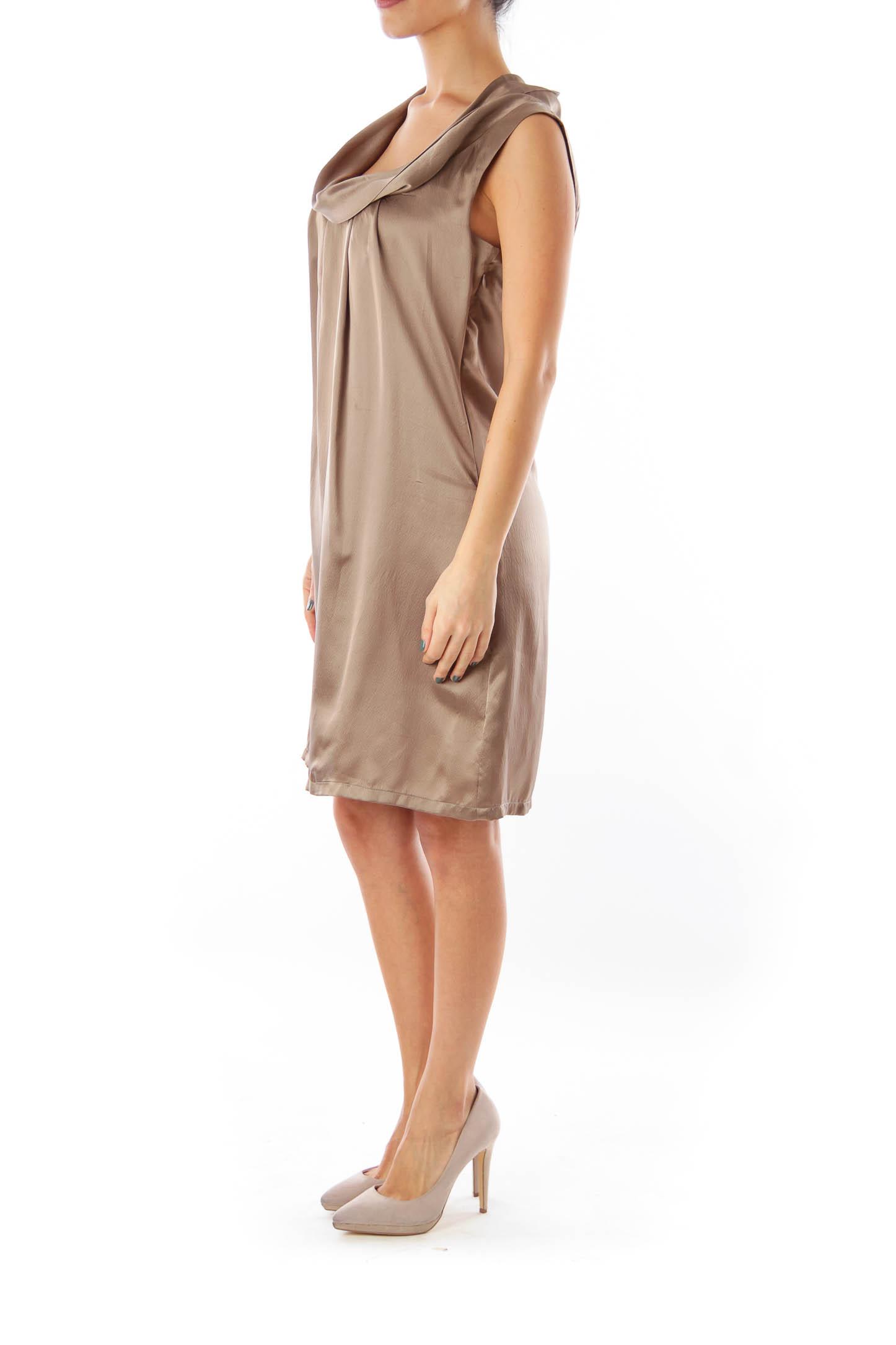 Taupe Turtleneck Mini Dress