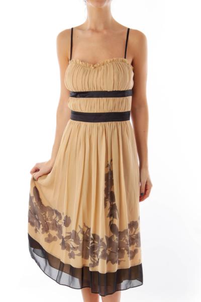 Beige & Black Floral Dress