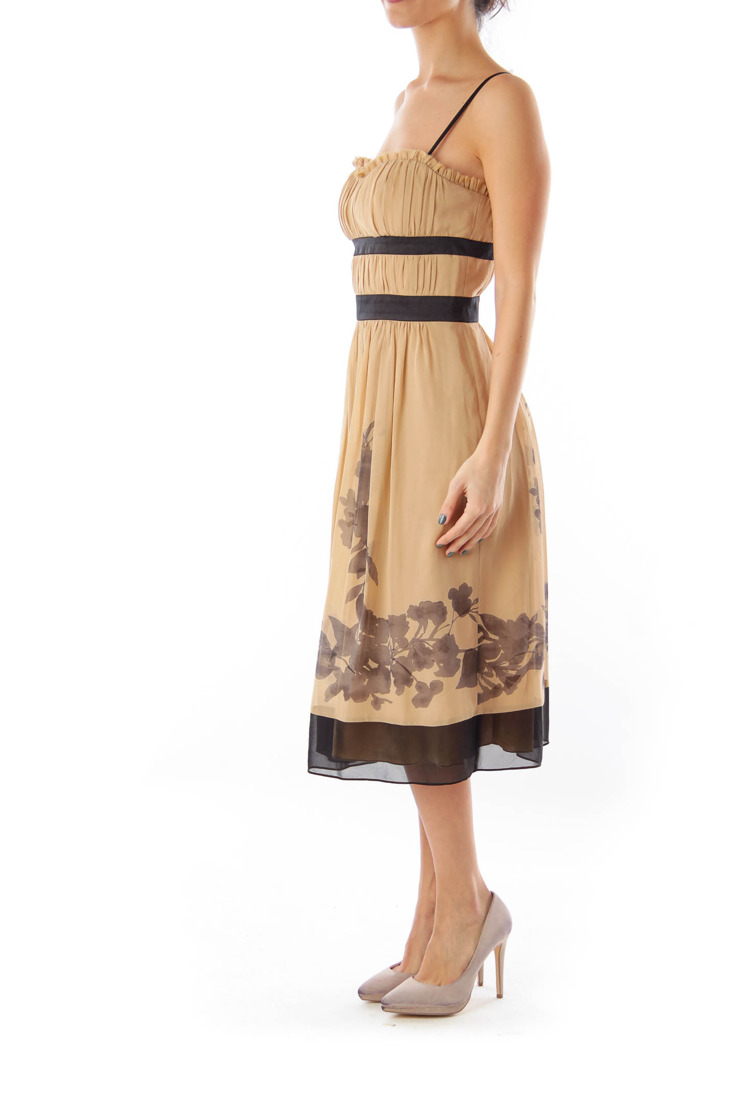 Beige & Black Floral Dress