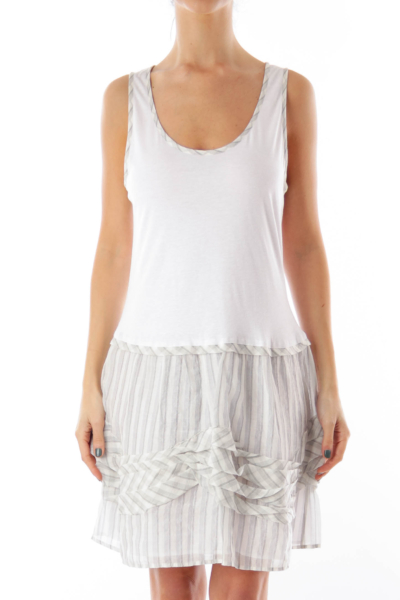 White & Gray Ruffle Mini Dress