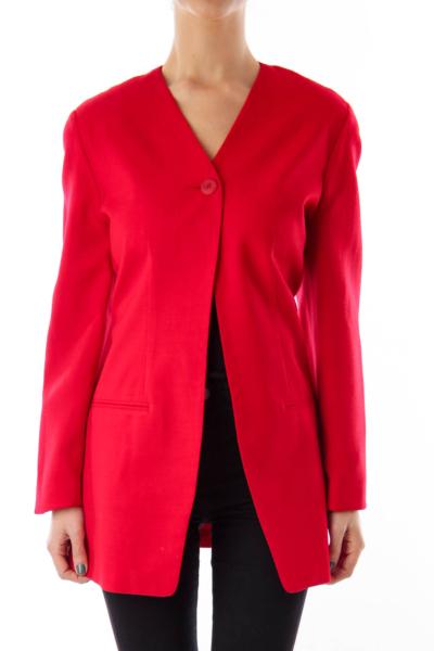 Red Long Blazer