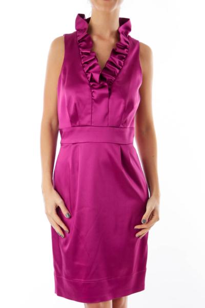 Purple Ruffle V Neck Dress