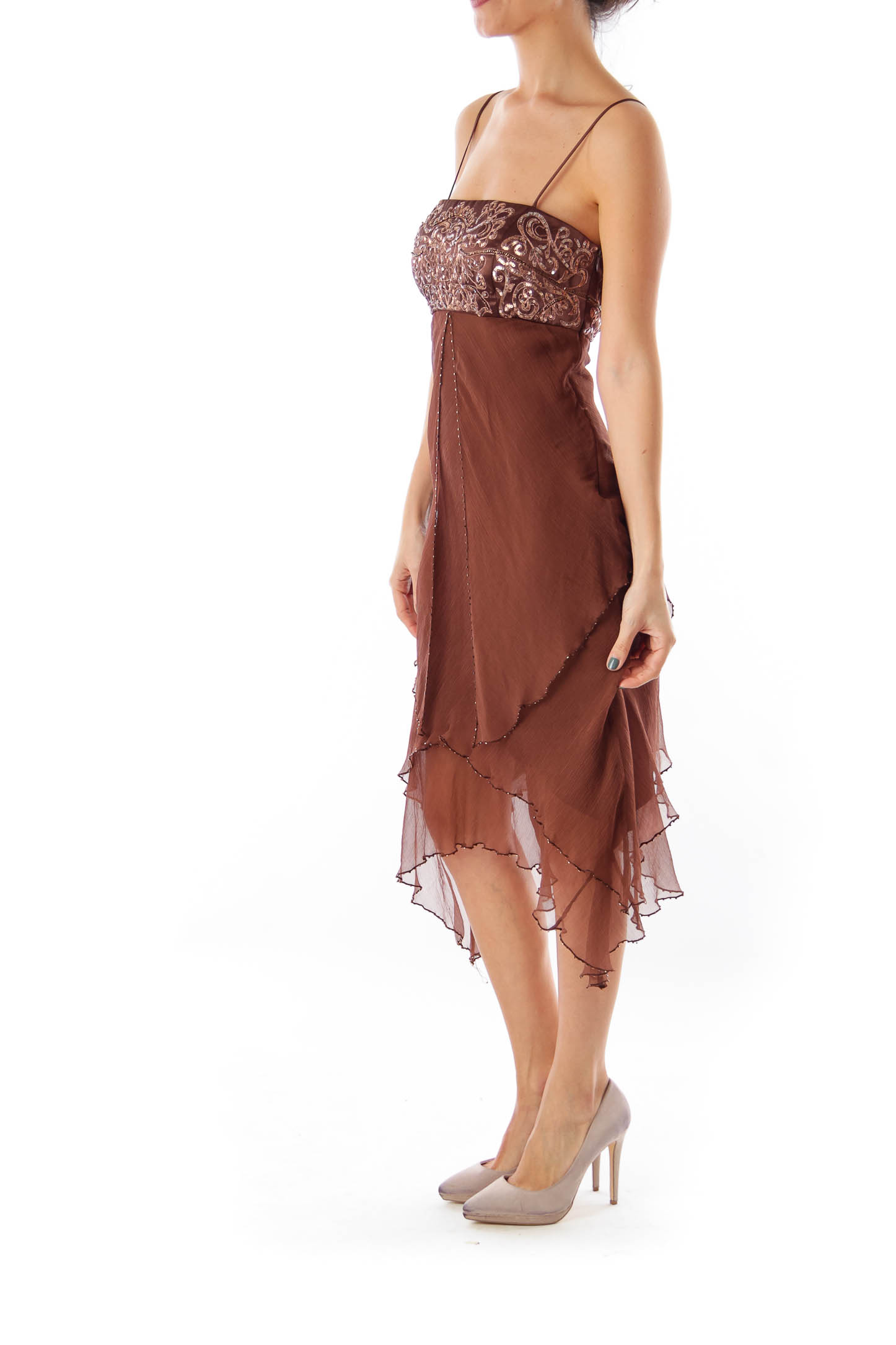 Brown Embroidered Dress