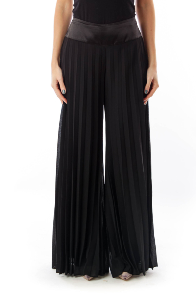 Black Pantalon Pleated Pants
