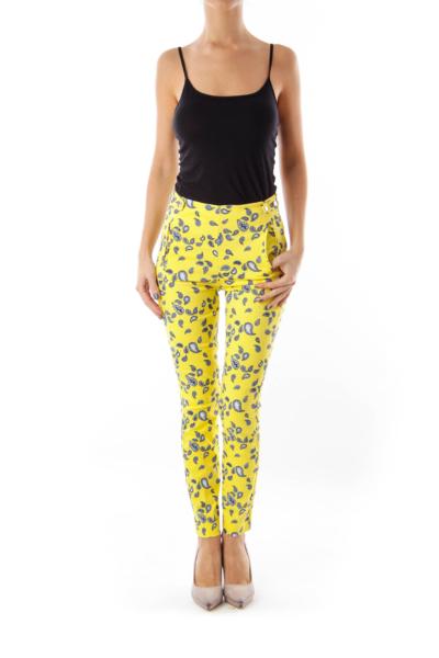 Yellow Paisley Printed Pants