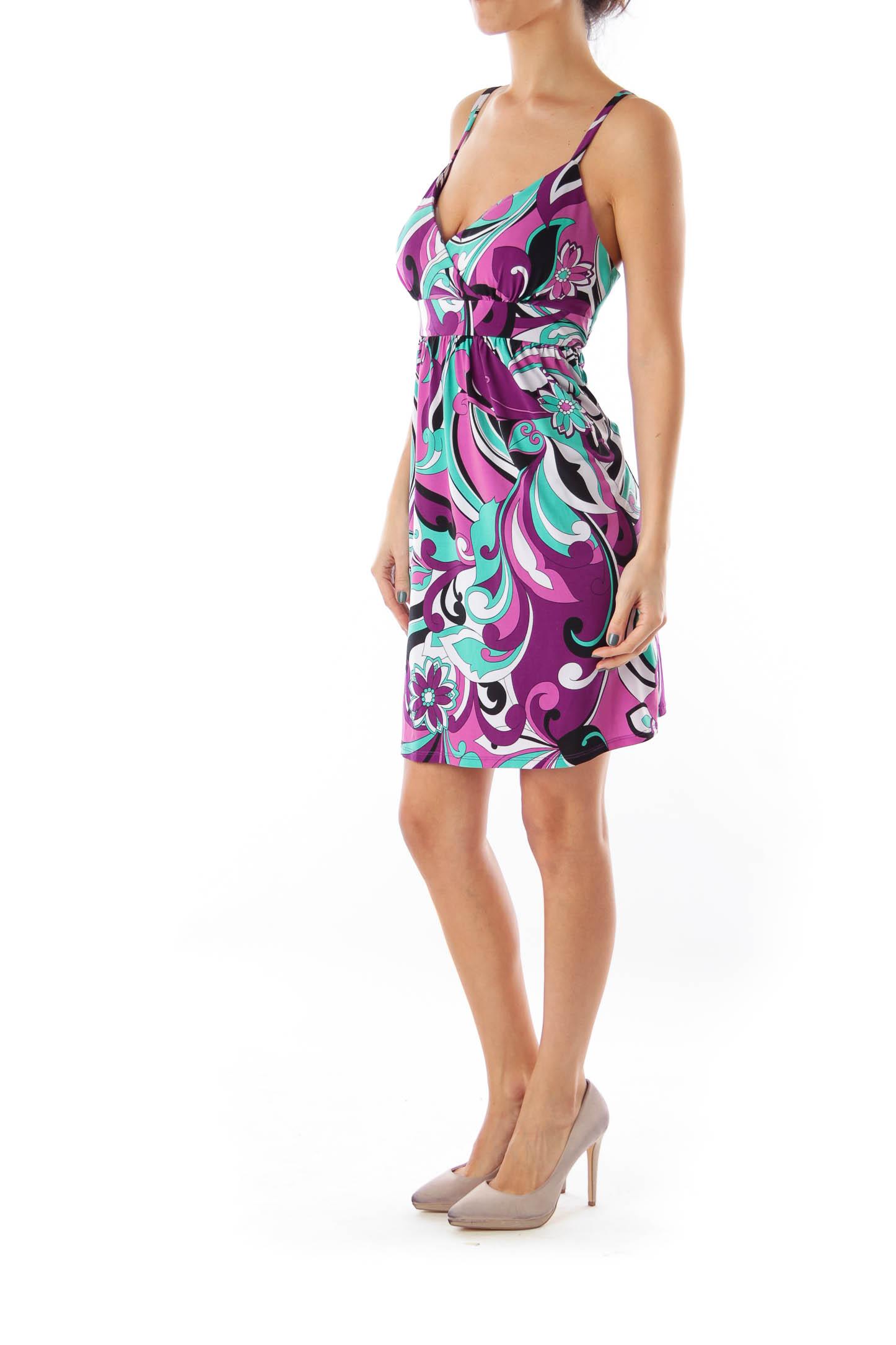 Purple & Green Print Mini Dress
