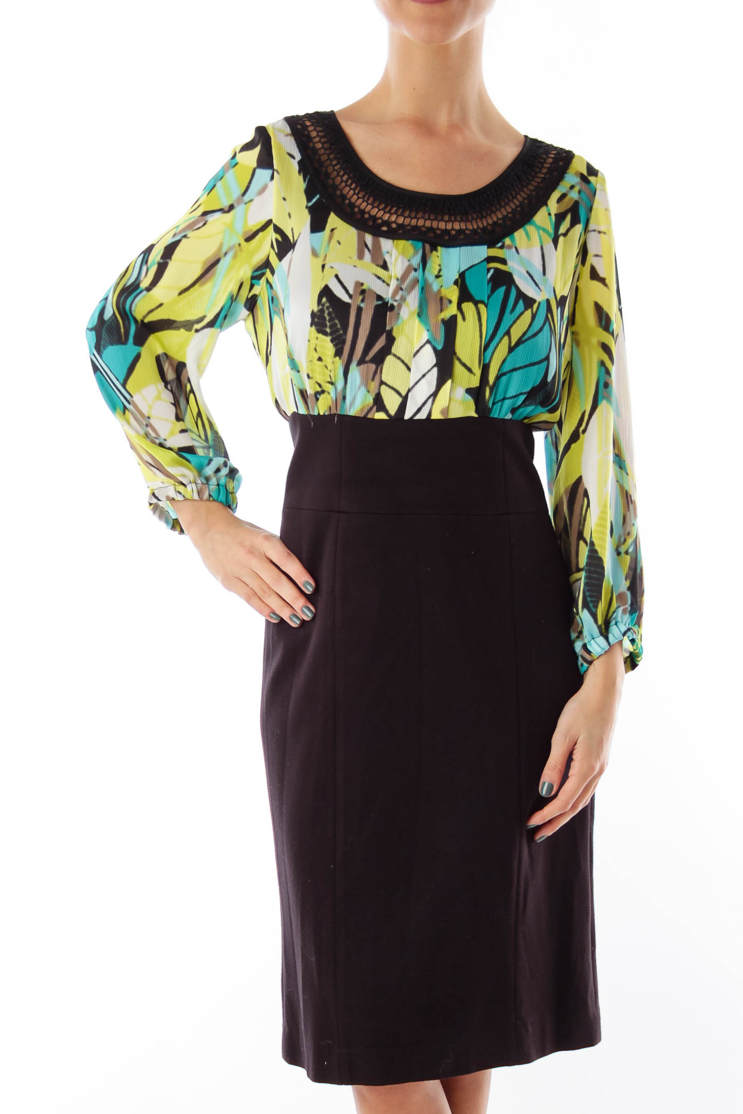Black & Print Shift Dress