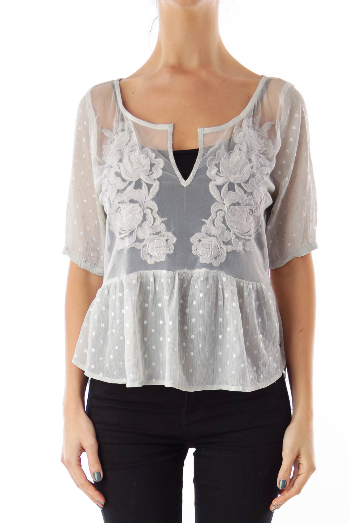 Gray Flower Embroidery Top