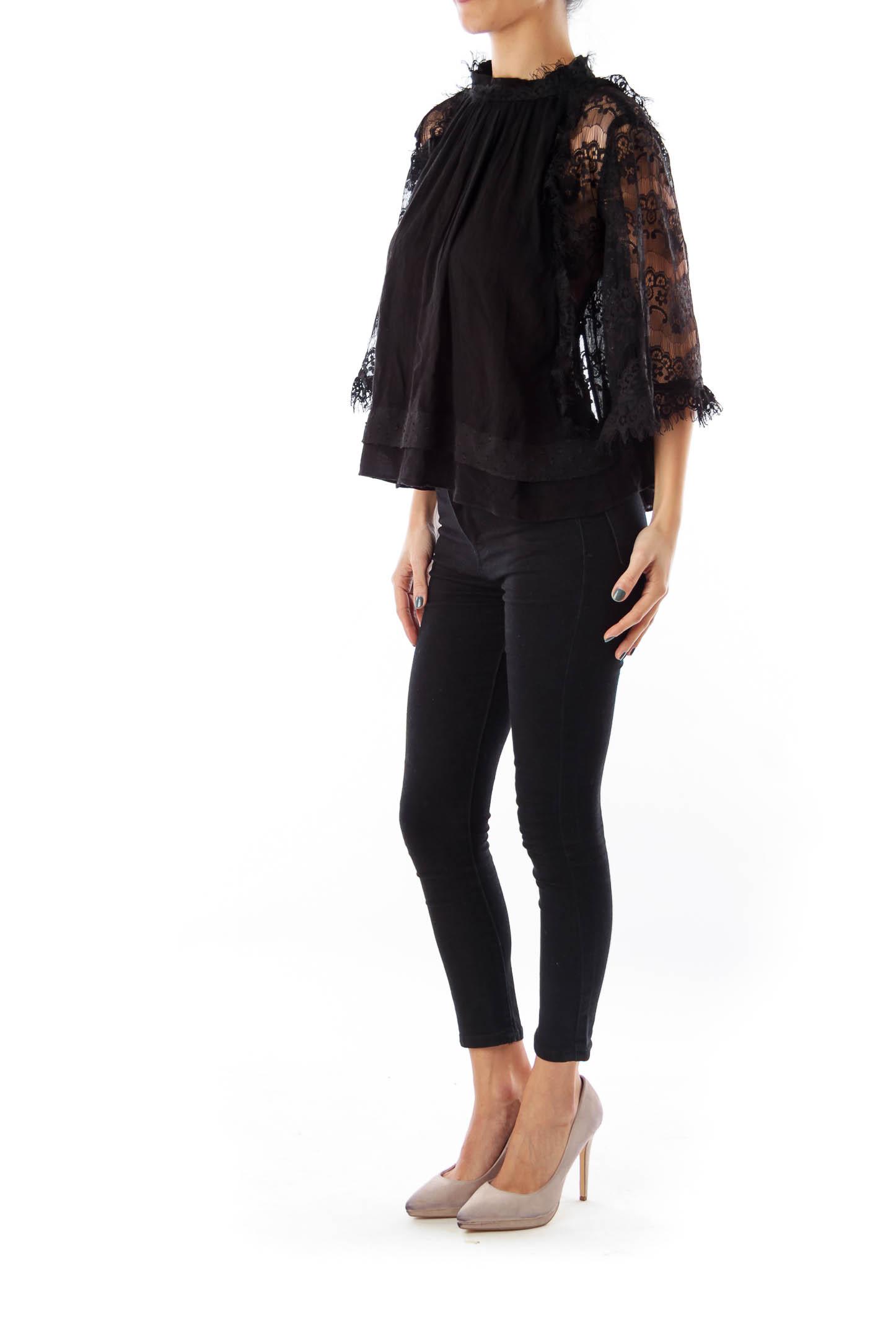 Black lace Crop Shirt