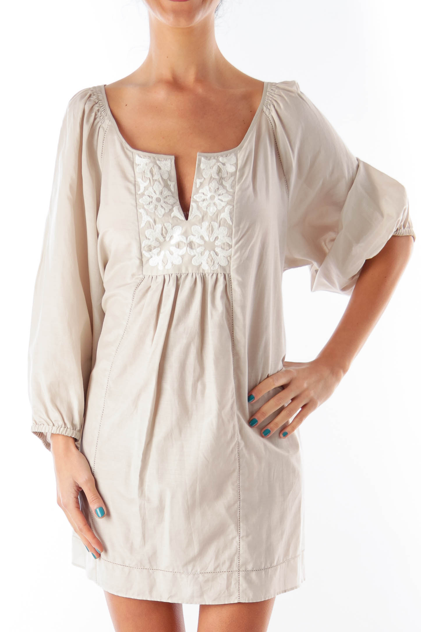 Taupe Floral Embroider Blouse