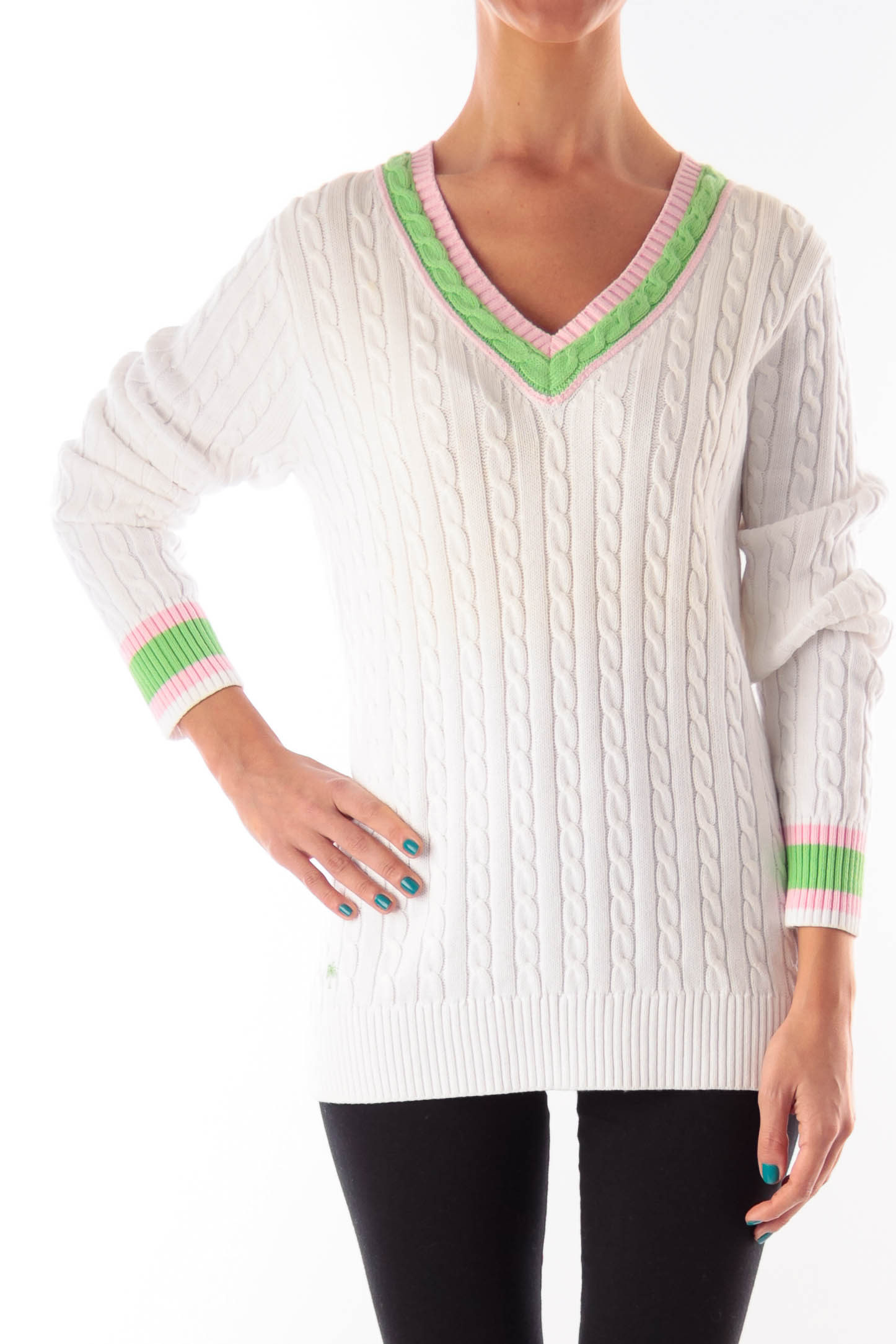 White & Color Neck Knit Sweater