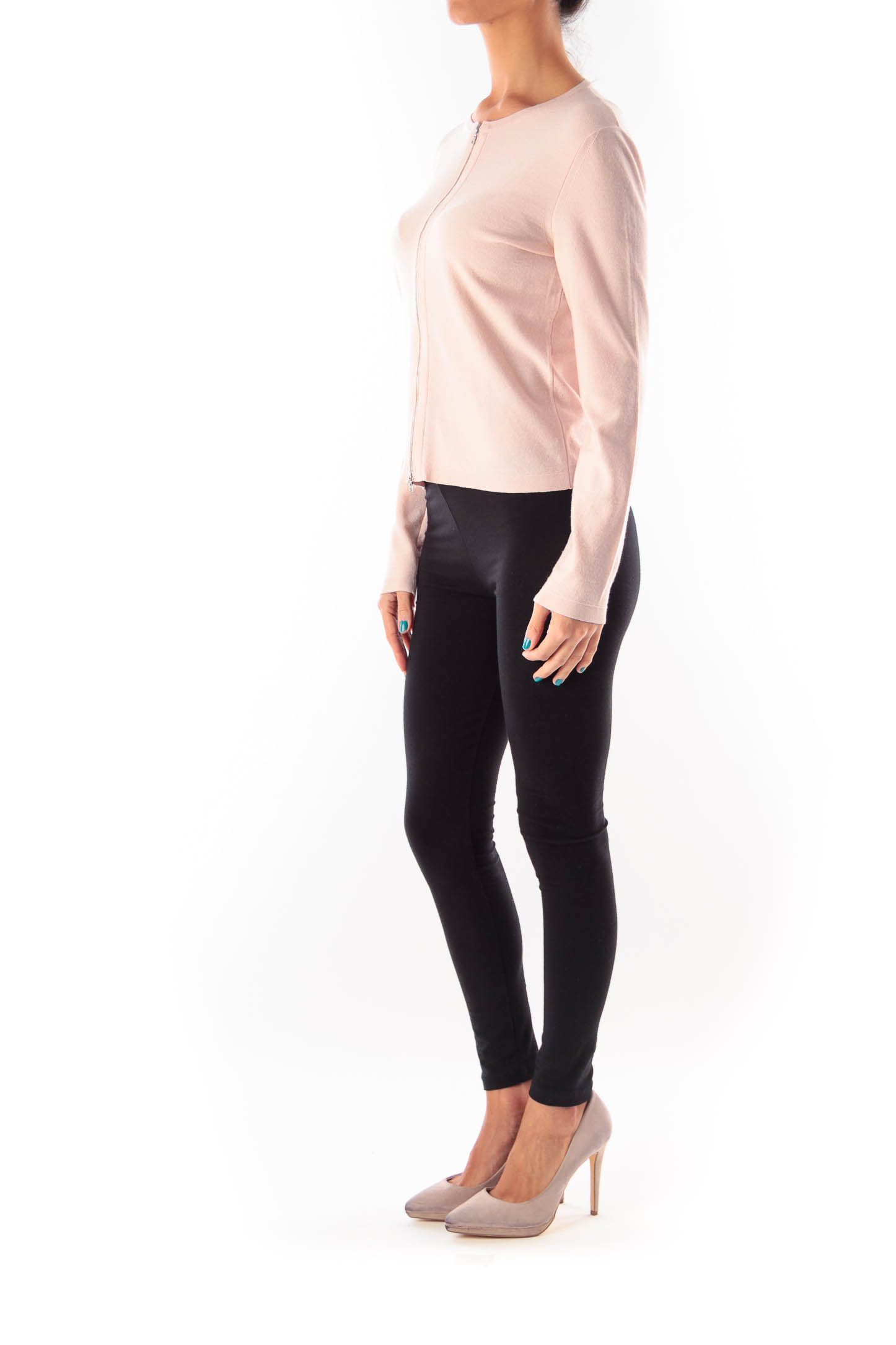 Pink Ziper Cardigan