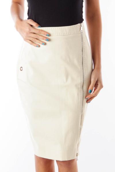 Beige Side Ziper Skirt