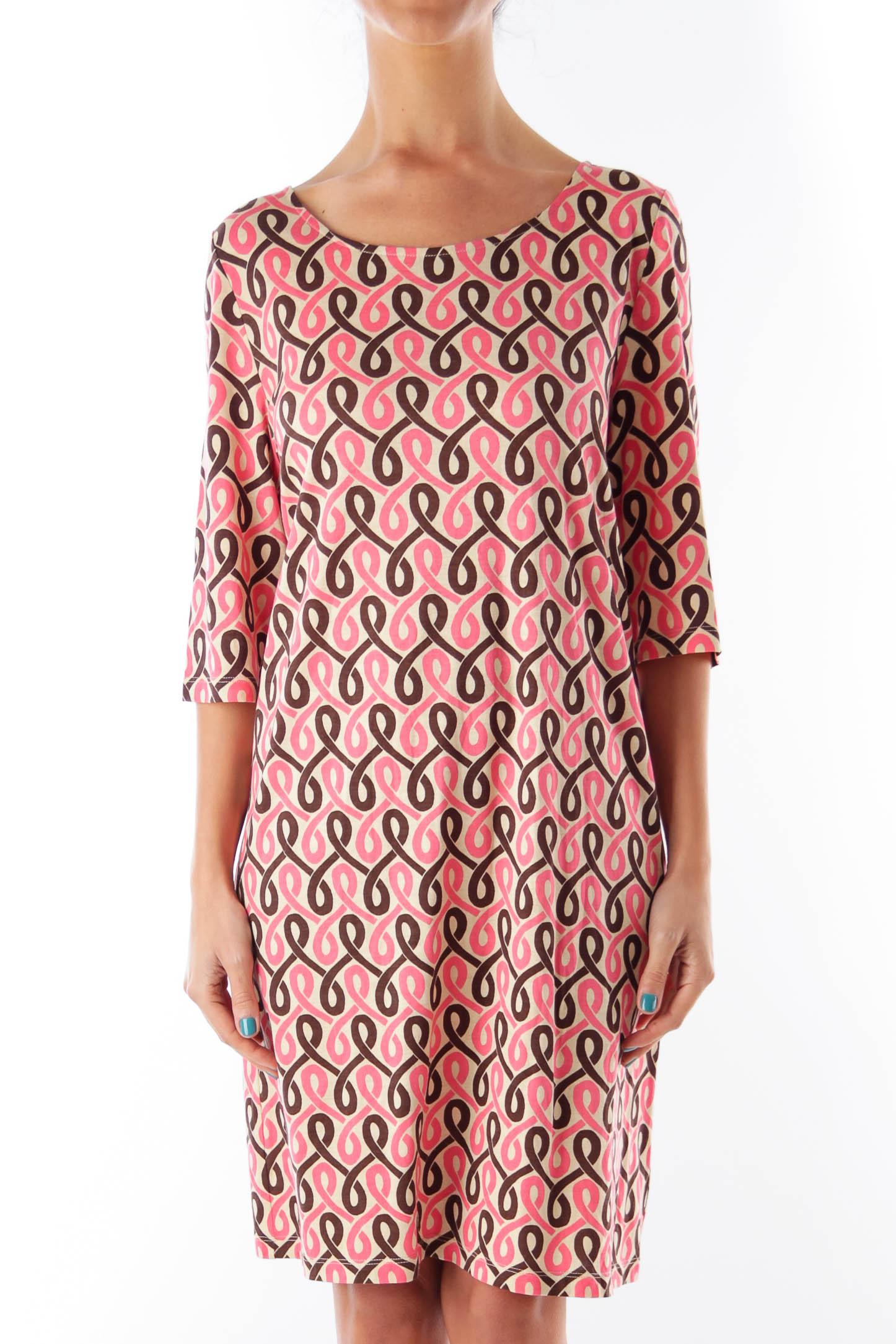 Pink & Brown Print Shift Dress