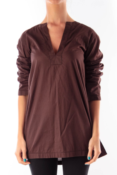 Brown V Neck Shirt