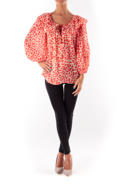 Red & Beige Print Blouse